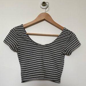 Garage striped crop tee shirt